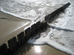 fence and waves